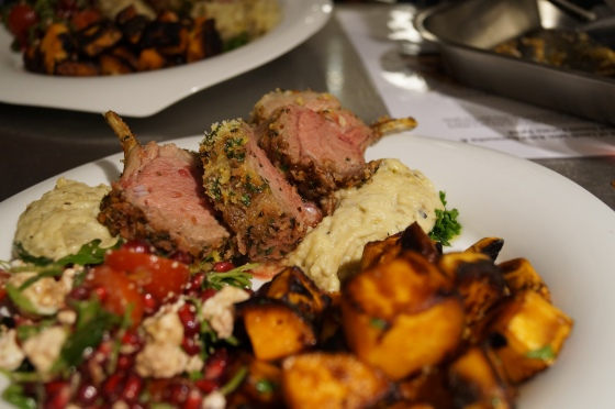Herb Crusted Lamb with Baba Ganouche & Sweet Potato Salad