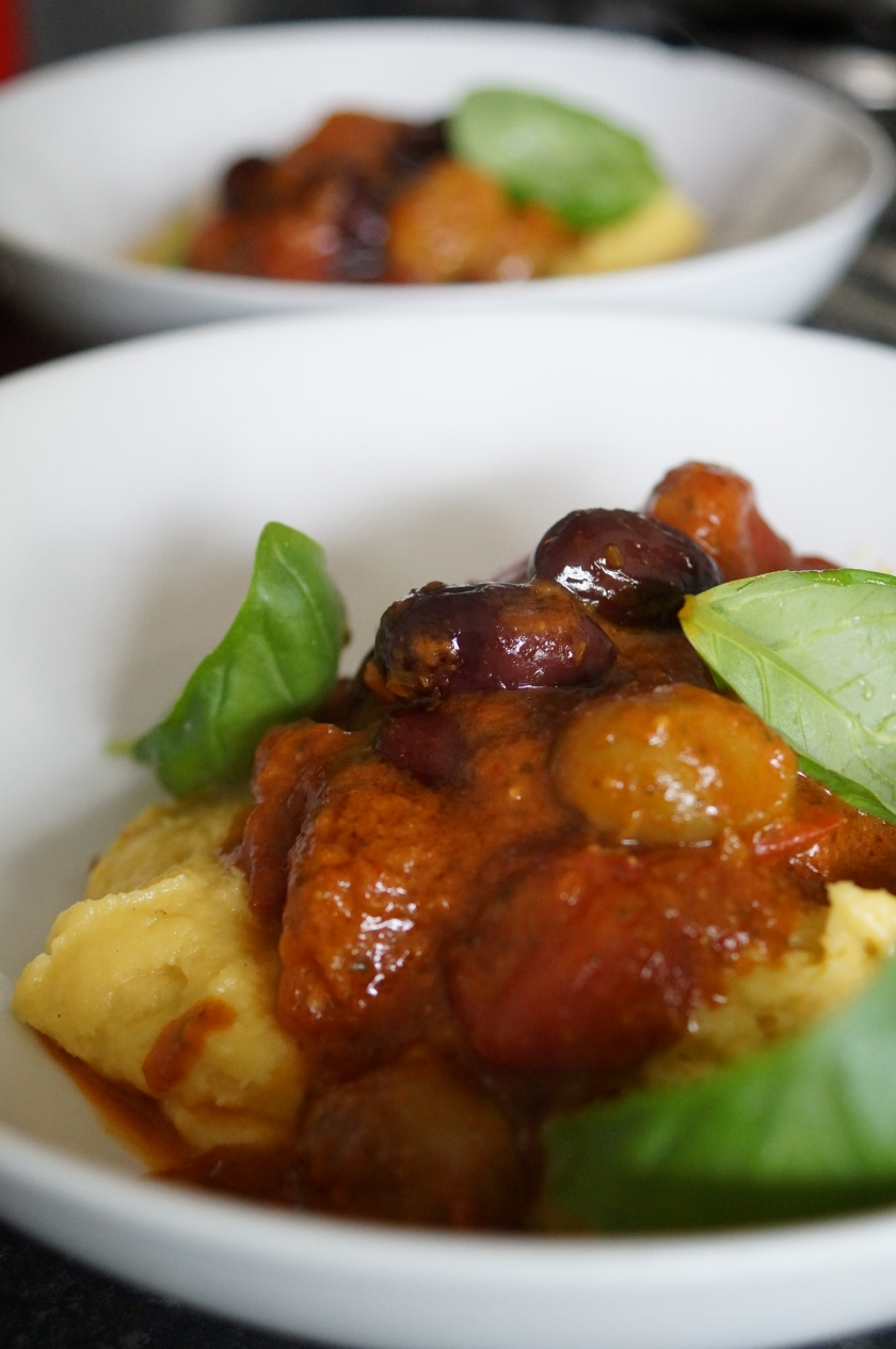 roasted tomatoes, olives and polenta
