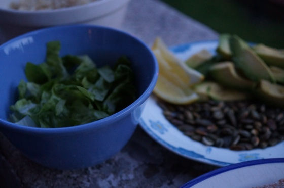 Lettuce, Pumpkin Seeds, Lemon and Avocado