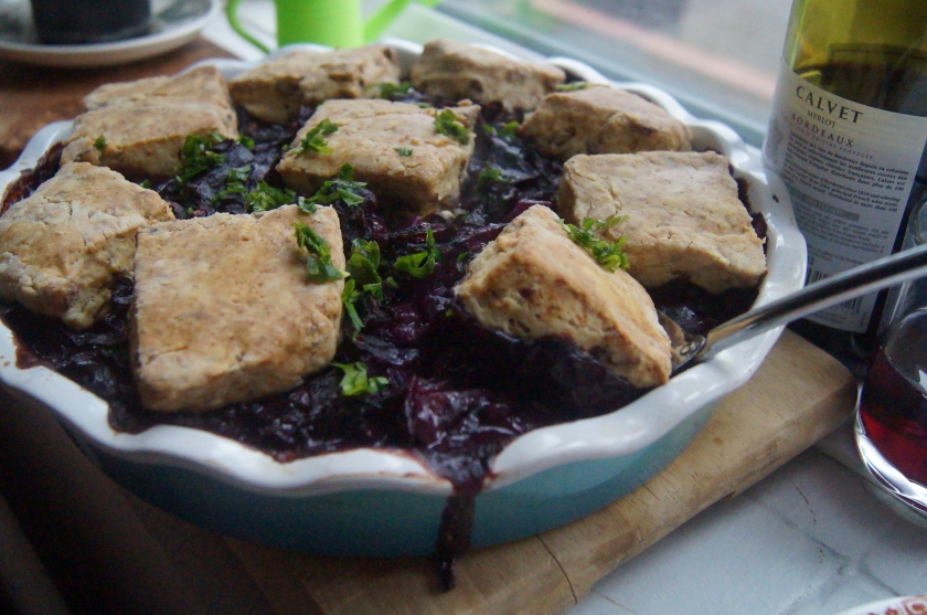 red cabbage cobbler