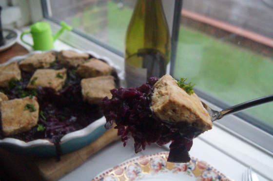 red cabbage cobbler served