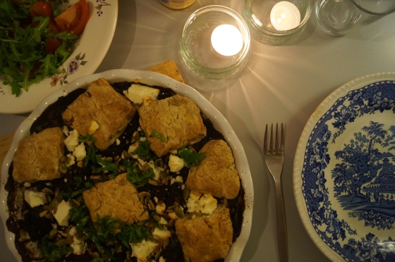 red cabbage cobbler with feta