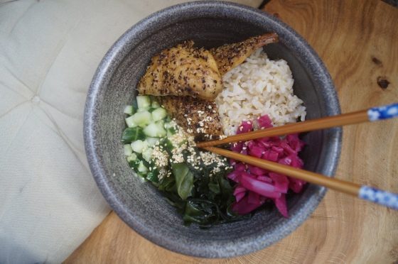 Mackerel sushi bowl